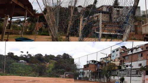 [Quadra e campo de futebol abandonadas em Pernambués]