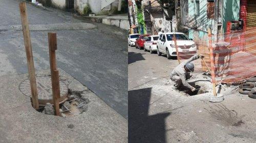 [Buraco abre em rua de Pernambués; reparo já está sendo feito]