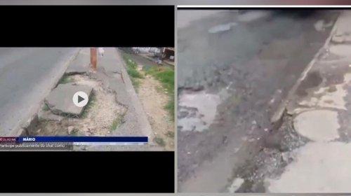 [Morador reclama de problemas estruturais na via da Estrada das Barreiras]