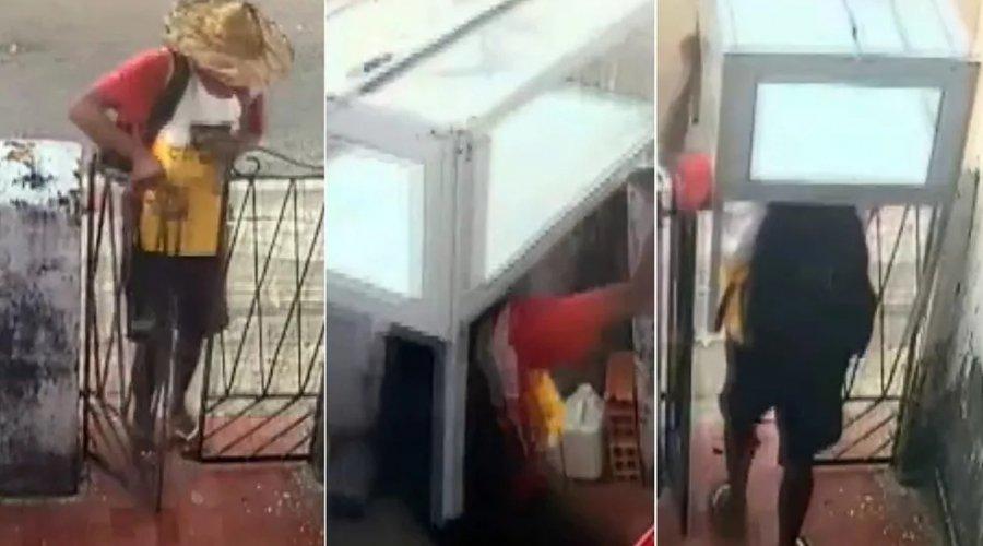 [Baiana de acarajé tem tabuleiro roubado em Salvador; câmera de segurança flagrou crime]