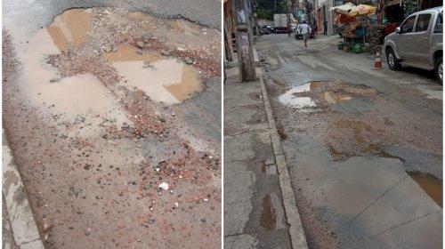 [Denúncia: Moradores reclamam de vazamento e buracos na Avenida São Paulo em Pernambués; Veja vídeo]