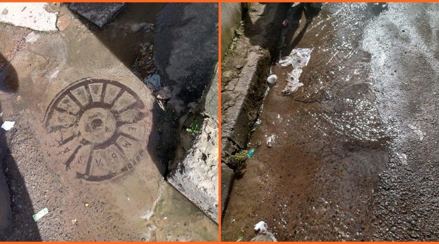 """[Veja vídeo: Moradores de Pernambués denunciam mais uma vez vazamento de água em caixa de esgoto, """"Chega de enrolação queremos é solução""""]"""